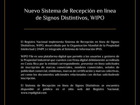 Nuevo Sistema de Recepción en línea de Signos Distintivos, WIPO