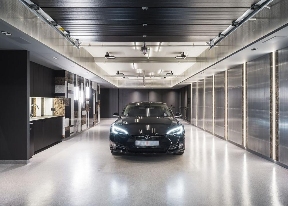 Tesla in Garage converted to Media Room