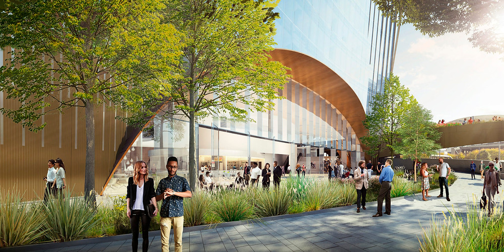 The envisioned public space at 10 World Trade