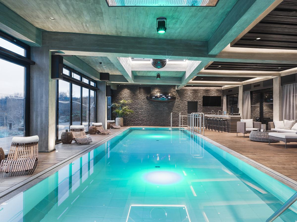 Pool area in luxurious Icelandic retreat