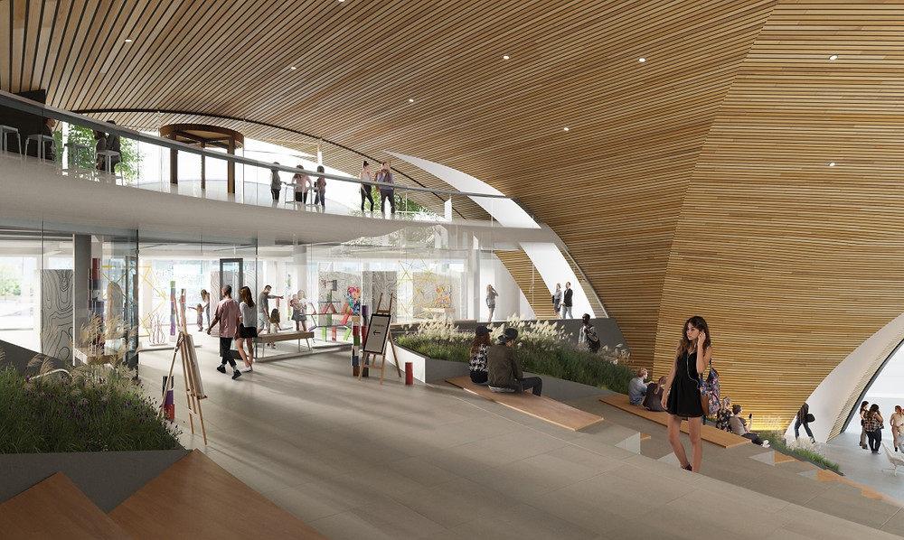 The intended design of the cultural mezzanine area of 10 World Trade in Boston's Seaport