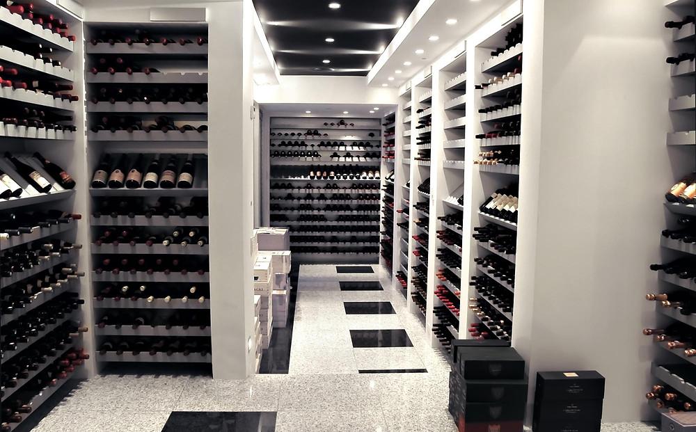 Wine cellar in modernized colonial-era home