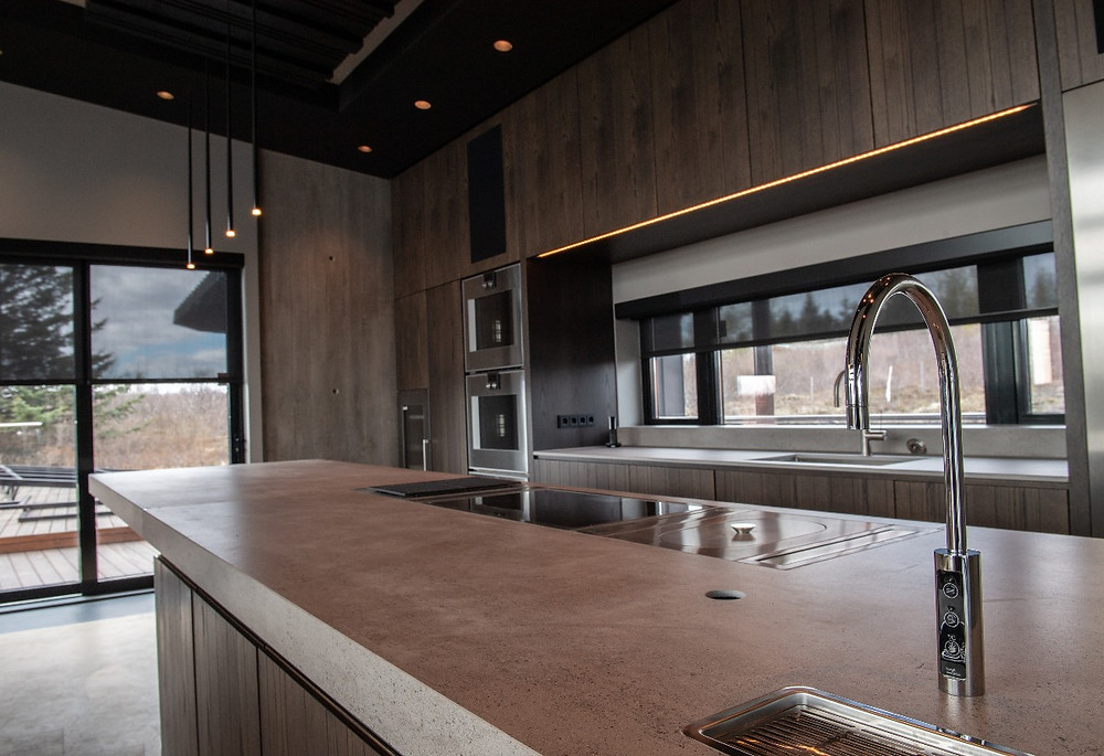 Kitchen area of Pool House in Iceland