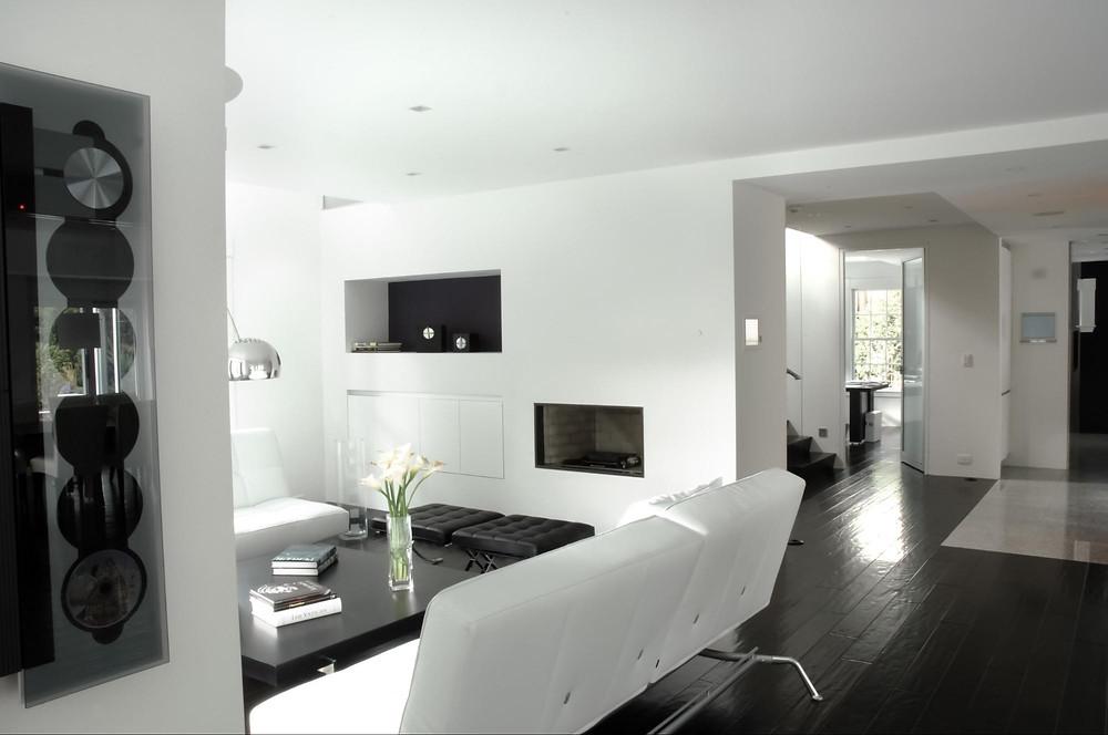 Living room of a modernized colonial-era home