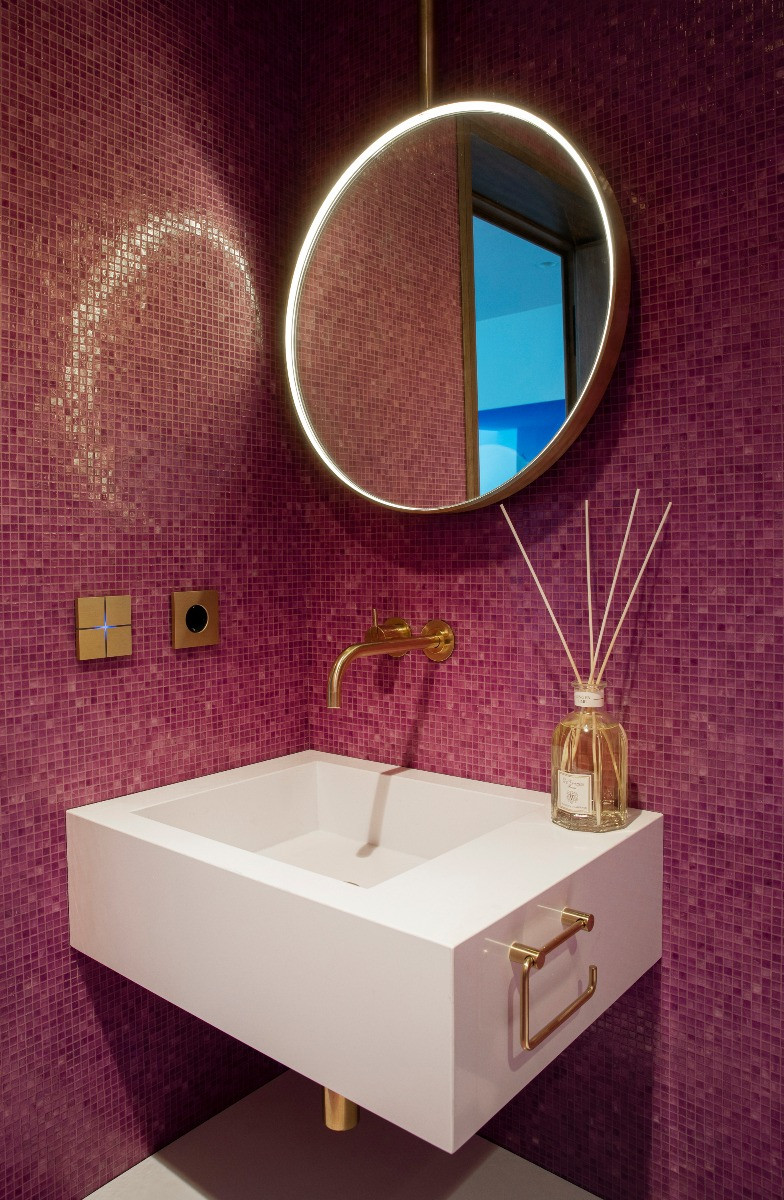 Bathroom in Icelandic Ocean Villa with smart home controls