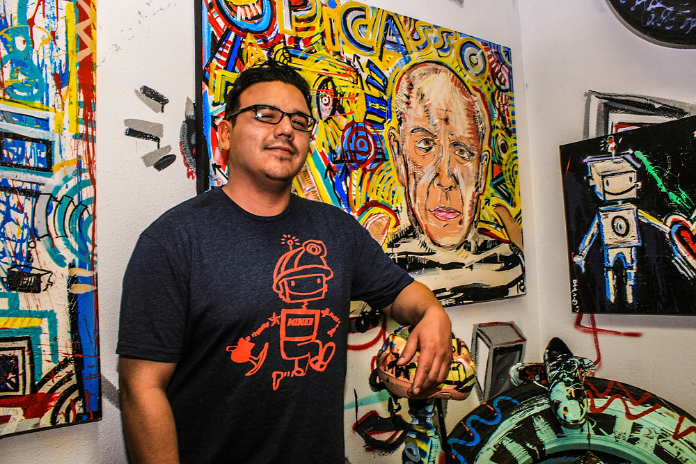 """Diego Martinez had his art work displayed at the Power at the Pass art show ;""""Elemental""""."""