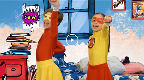 Take the Stage Super Flip video in Spanish about superheroes writing expository essays