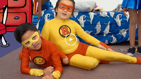 Take the Stage Super Flip video about superheroes writing expository essays