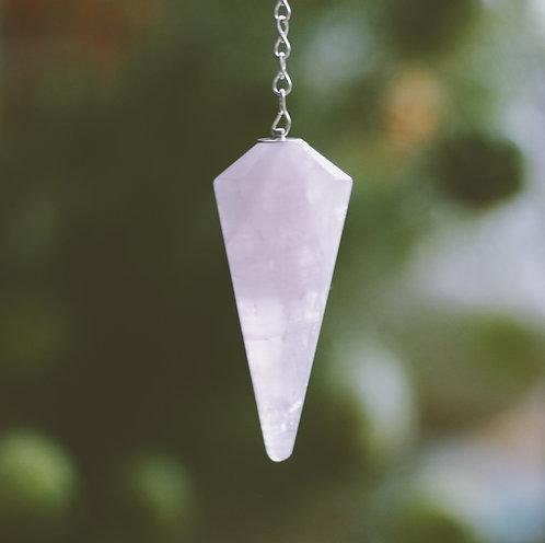 Pendulum Faceted Rose Quartz Crystal (Brazilian)