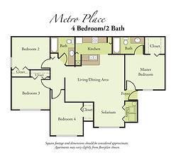 4 Bedroom, 2 Bath Floor Plan