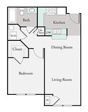 1 Bedroom,1 Bath Floor Plan
