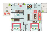 2 Bedroom, 1 Bath Floor Plan