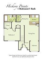 1 Beroom, 1 Bathroom Floor Plan