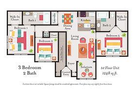 2 Bedroom 3 Bathroom Floor Plan