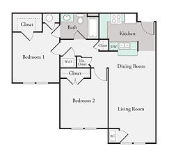 2 Bedroom, 2 Bath Floor Plan