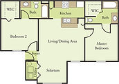 Glen Oaks 2 Bedroom 2 Bath Floor Plan B1