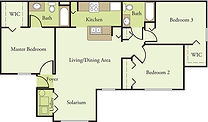 Glen Oaks 3 Bedroom 2 Bath Floor Plan C1