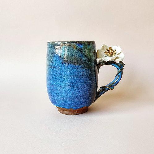 Caneca Florida Azul Cobalto, Magnólia Dourada 💗