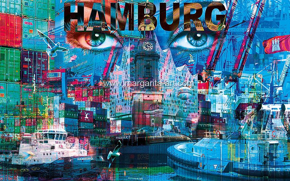 197 Hamburg Collage Pop Art Querformat