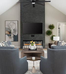 Splitface Stone Fireplace