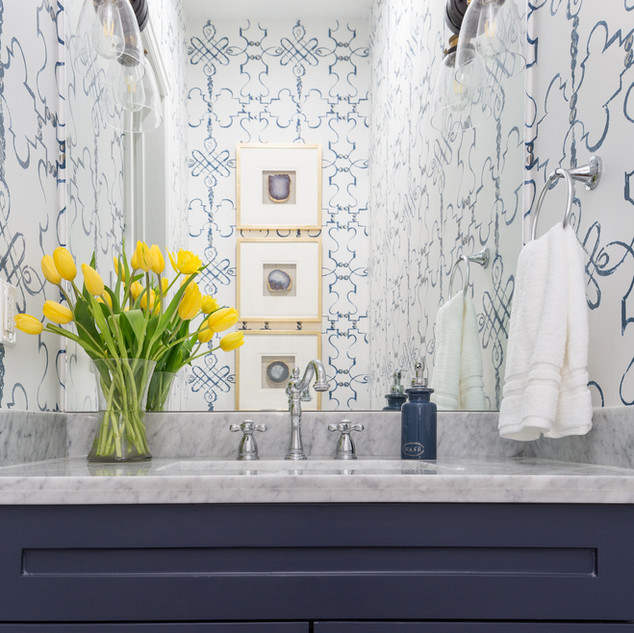 Powder Room Design with Wallpaper