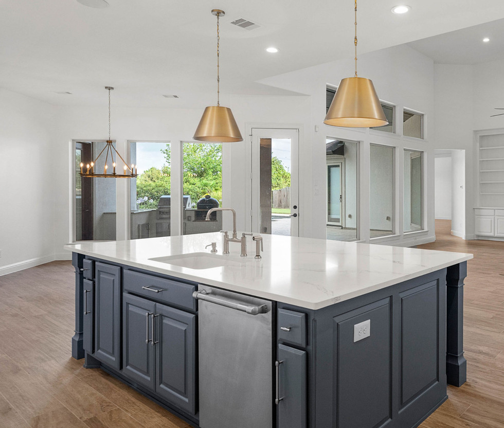 Brass Pendants Over Kitchen Island