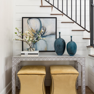 Foyer with a pop of color
