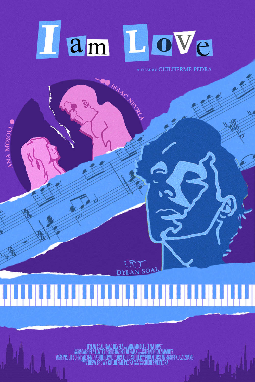 A poster with an artistic design showing a collage/scrapbook style design of Arthur's character's torn devotion to both Theo and Luna. Strips across the poster showcasing the film's musical motifs with a piano keyboard, another with musical notes.
