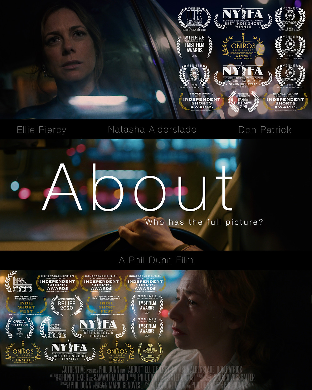 Poster of the film showing three pictures of the film's main characters in a car. Top one of the character Rebecca looking out the passenger window, the middle of the driver's POV, the bottom one of Caitlin looking forward. The poser is also covered in accolades from various film festivals.