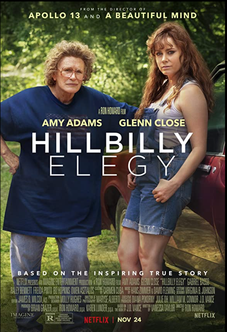 Poster showing main characters Bev Vance and Mamaw Vance played by Amy Adams and Glenn Close