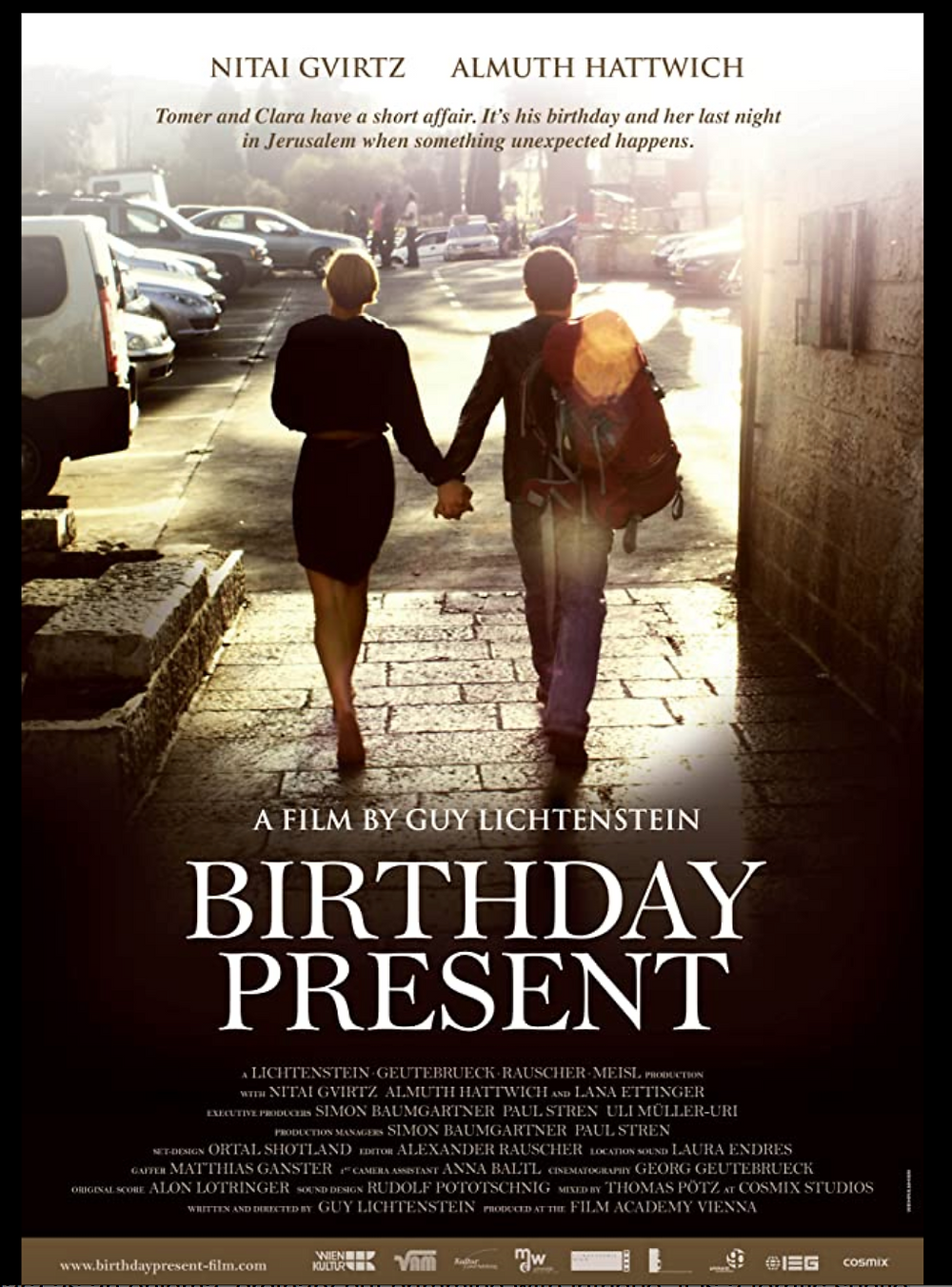 Poster for 'Birthday Present' showing the two characters walking on a sunlit street holding hands.