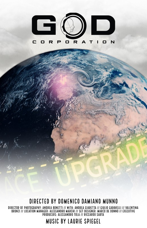 """Poster featuring a planet, a red glow in the center and covered in a holographic band  titled """"Race Upgrade"""""""