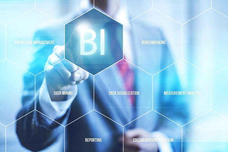 Business intelligence concept man pressi