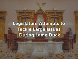 Legislature Attempts to Tackle Large Issues During Lame Duck