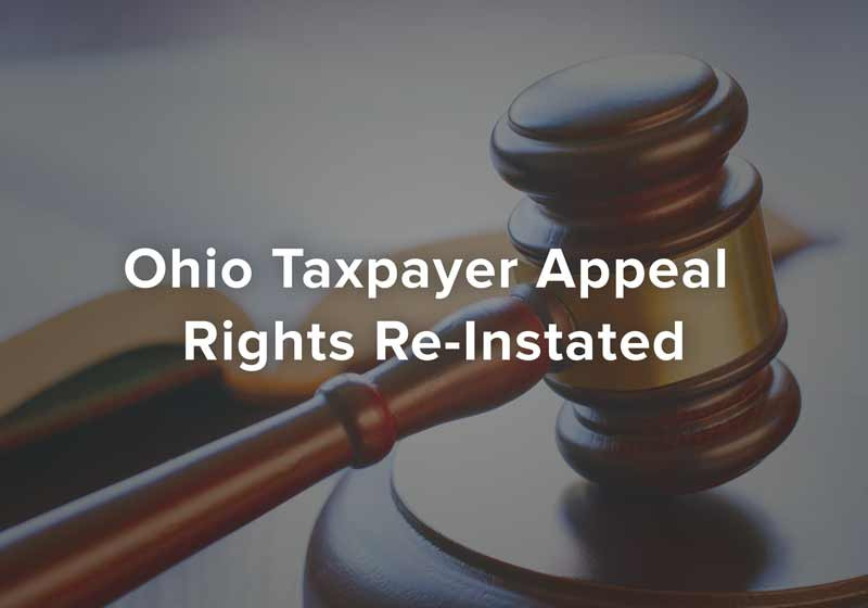 Ohio Taxpayer Appeal Rights Re-Instated