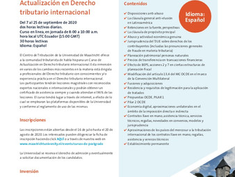 Course on International Tax Law (Sept 7th to 25th 2020)