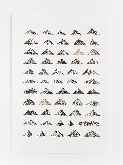 Mountains Beyond Mountains - A3 Risograph Print in Black & Gold