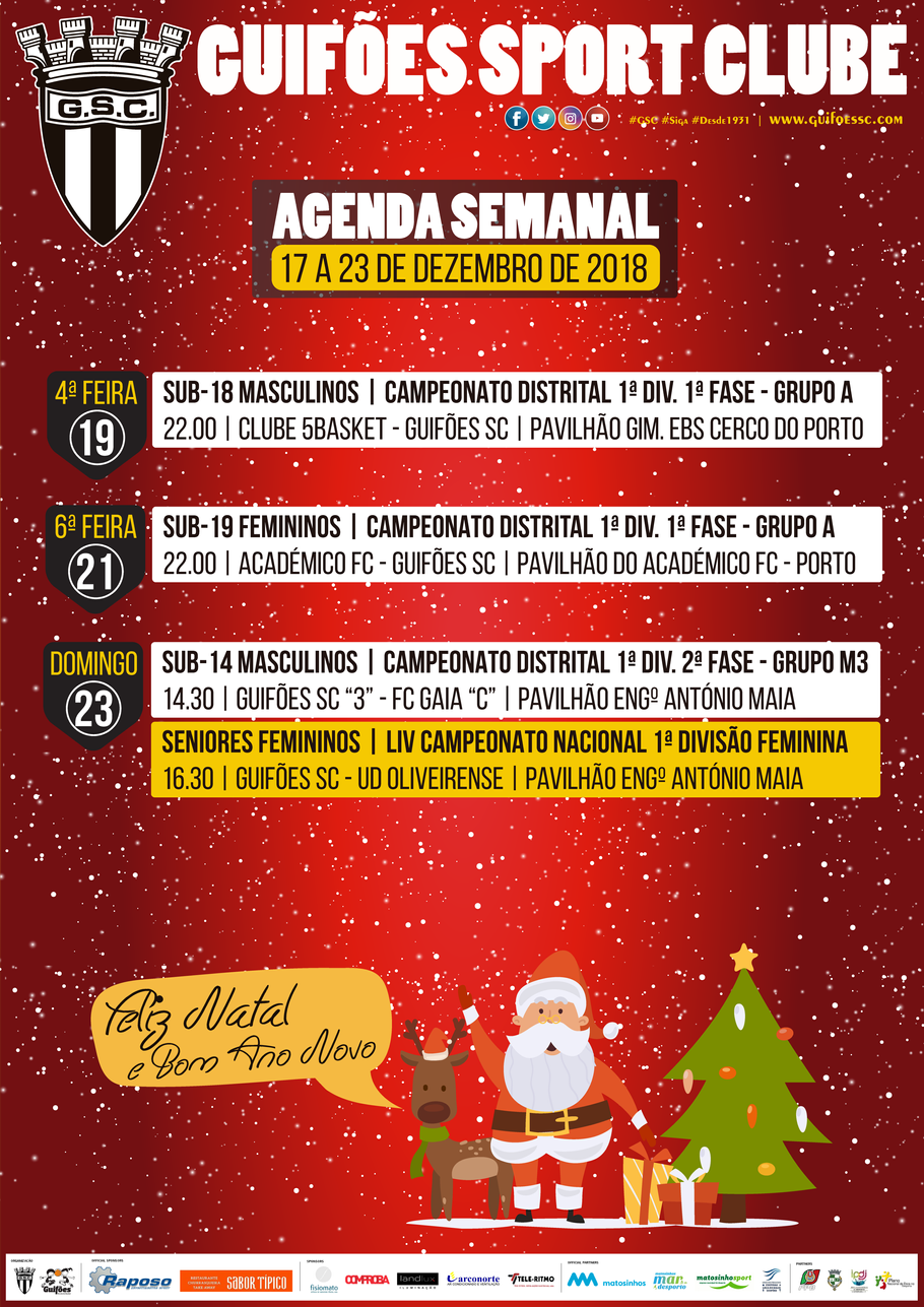 Agenda Semanal | 17 a 23 de Dezembro 2018