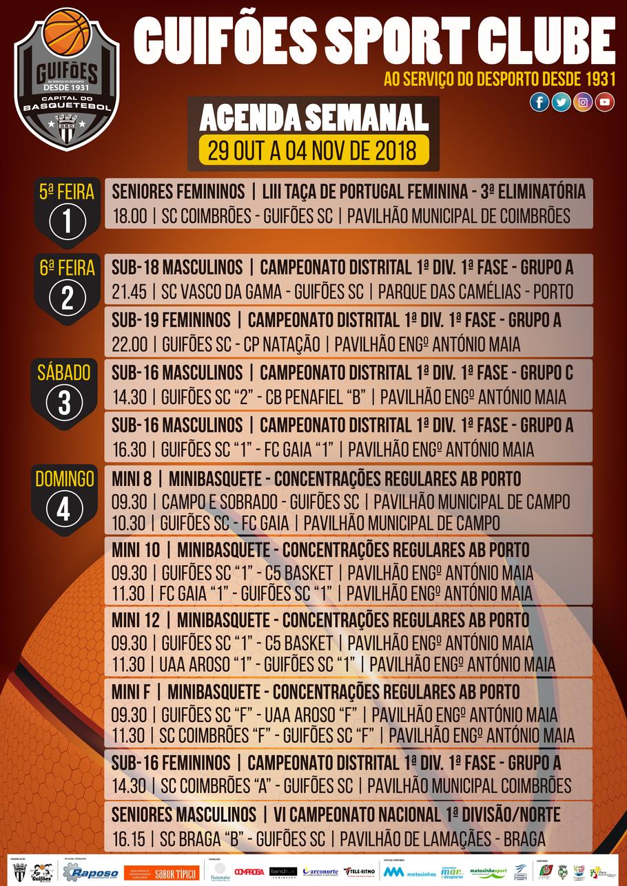 Agenda Semanal | 29 de outubro a 04 de novembro 2018