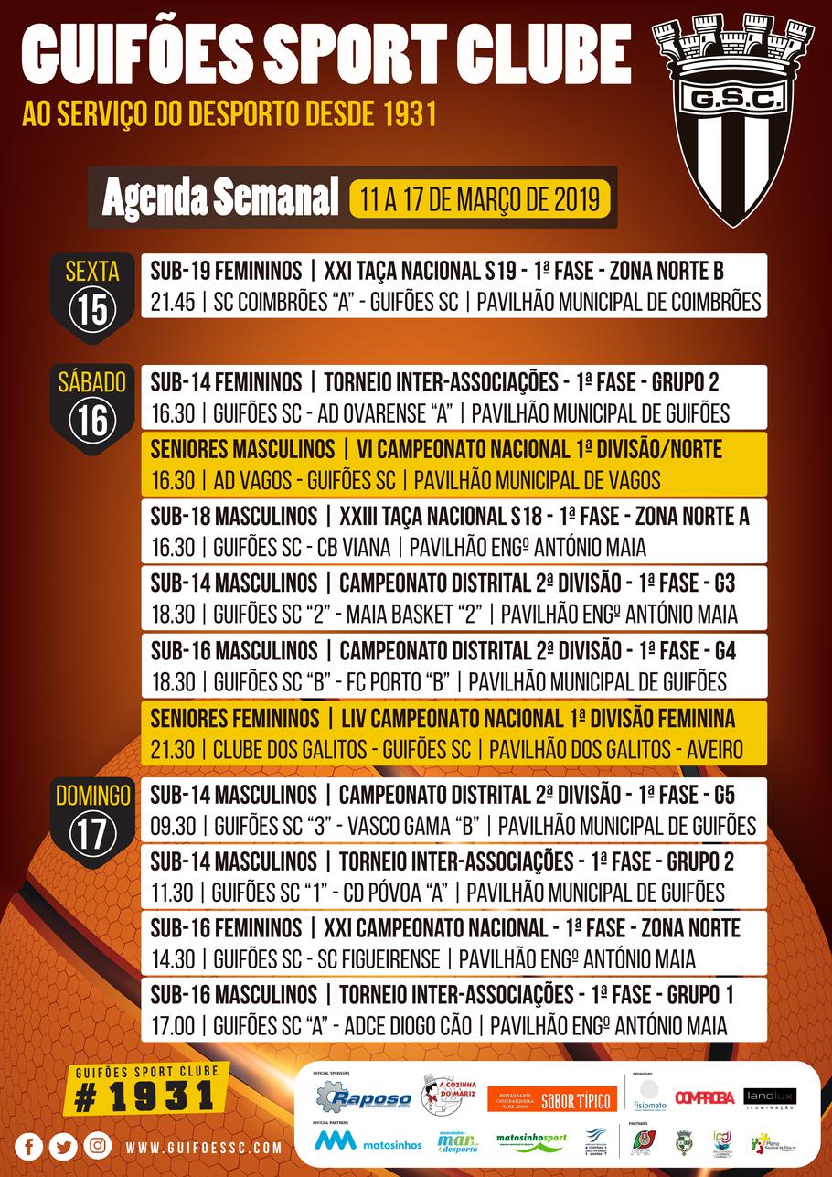 Agenda Semanal | 11 a 17 de Março 2019