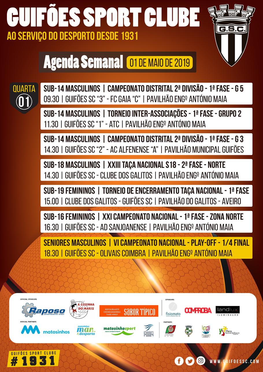 Agenda Semanal | 01 de Maio 2019