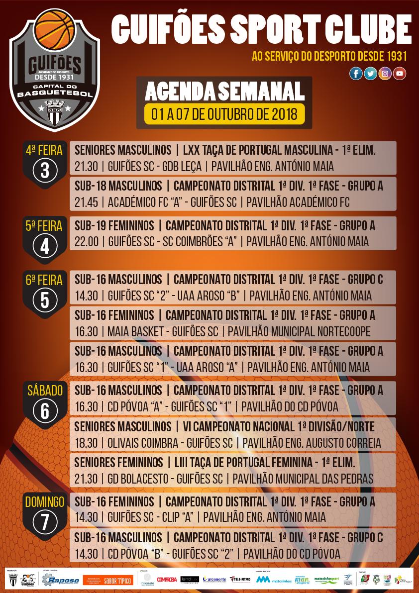 Agenda Semanal | 01 a 07 de outubro 2018
