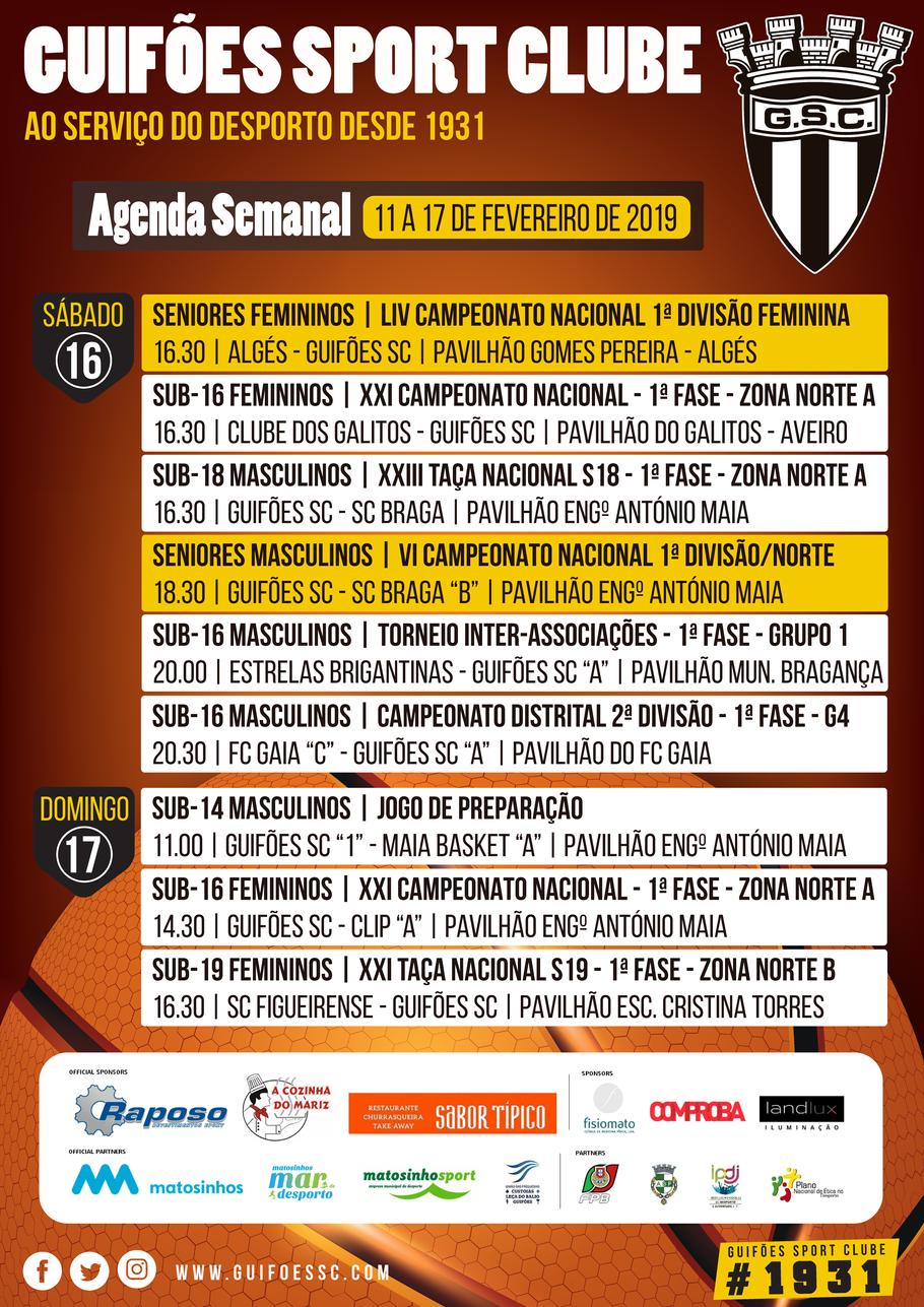 Agenda Semanal | 11 a 17 de Fevereiro 2019
