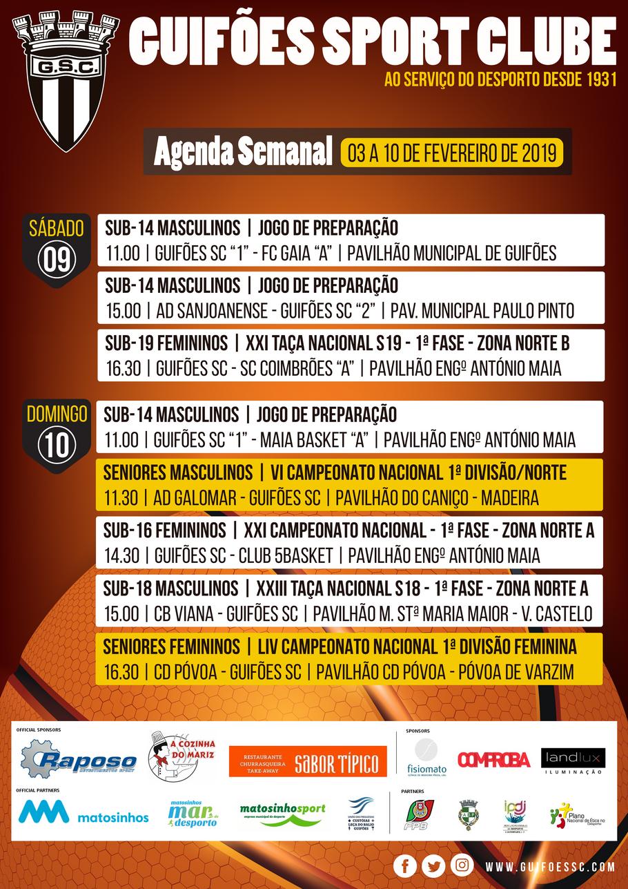 Agenda Semanal | 03 a 10 de Fevereiro 2019