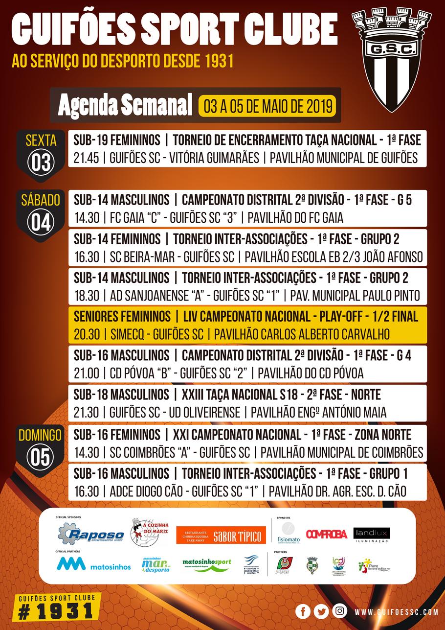 Agenda Semanal | 03 a 05 de Maio 2019