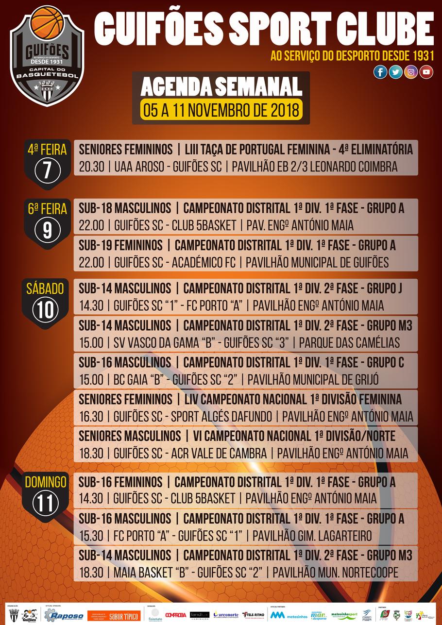 Agenda Semanal | 05 a 11 de novembro 2018