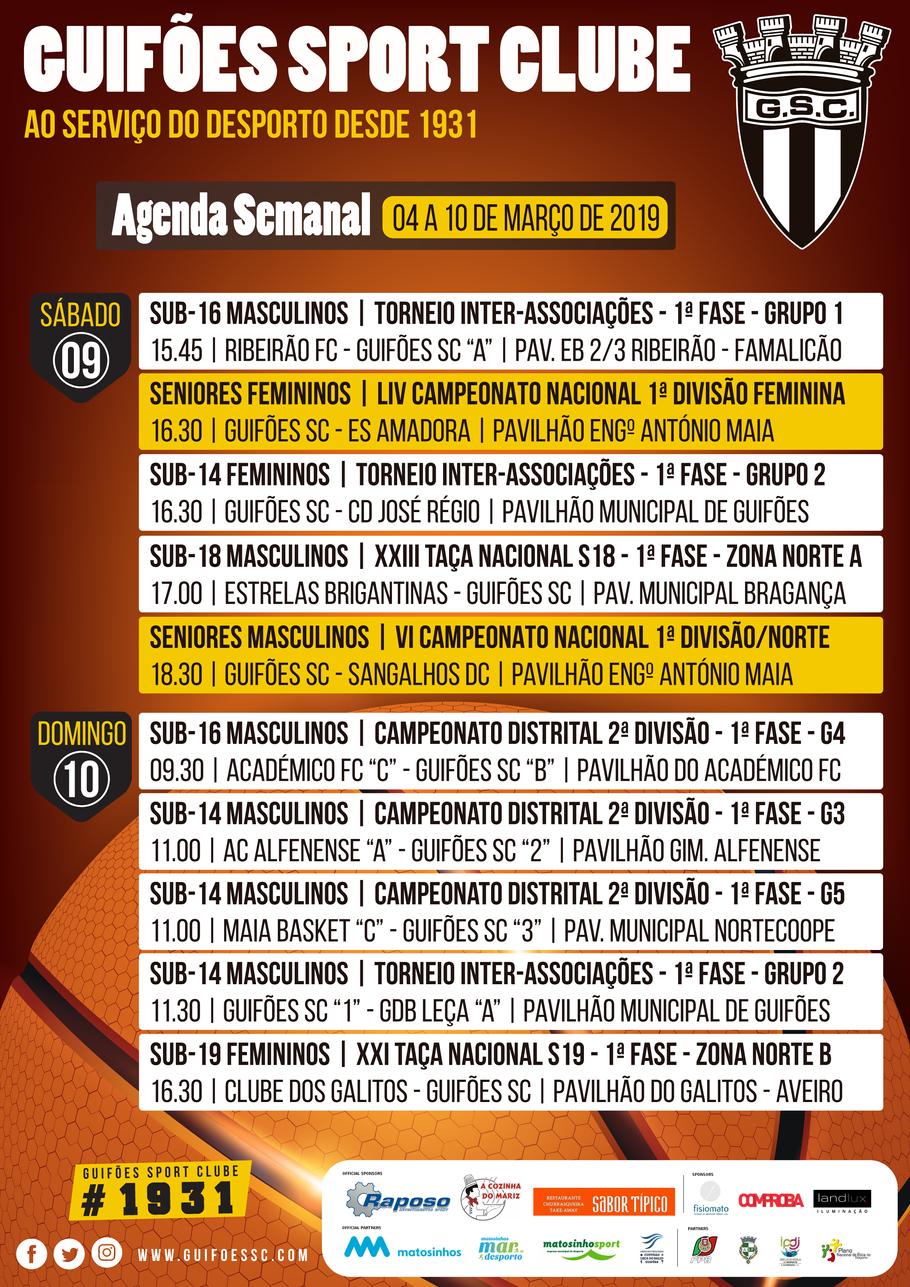 Agenda Semanal | 04 a 10 de Março 2019