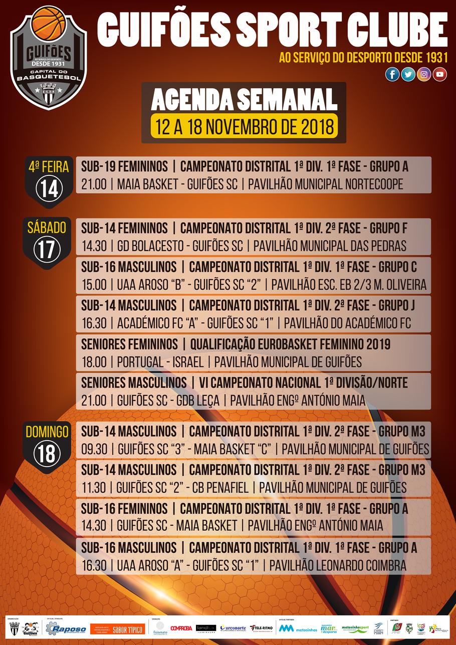 Agenda Semanal | 12 a 18 de novembro 2018