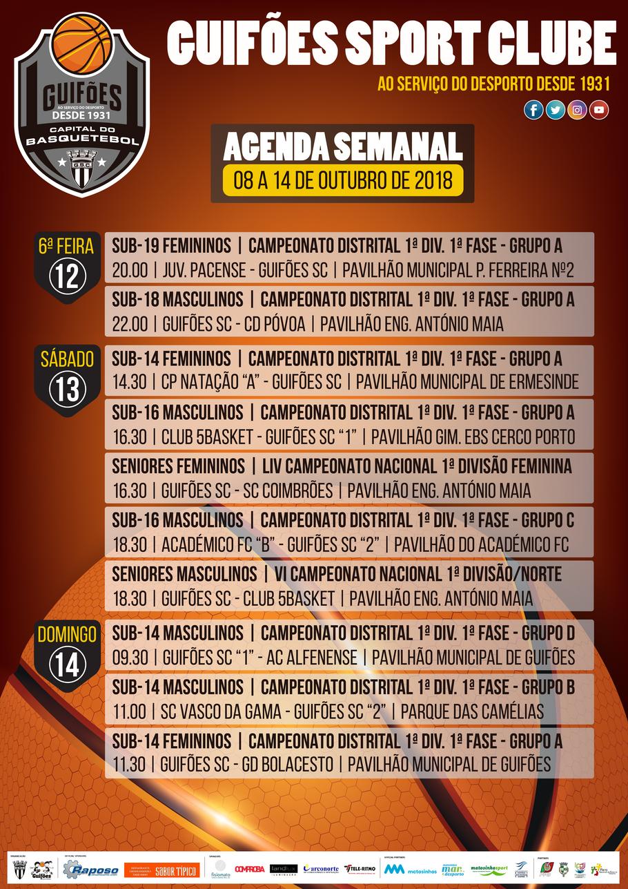 Agenda Semanal | 08 a 14 de outubro 2018