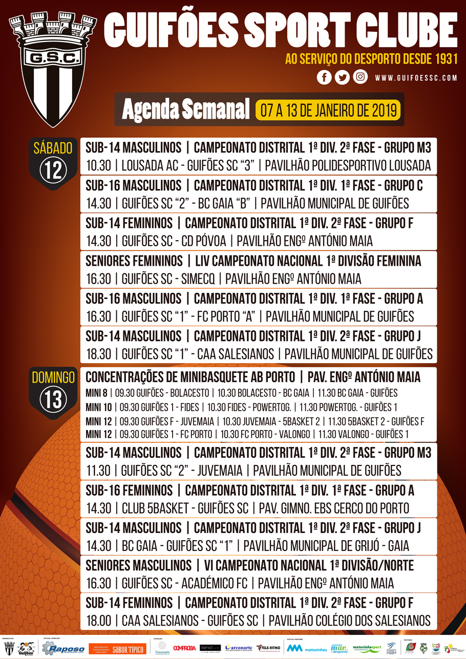 Agenda Semanal | 07 a 13 de Janeiro 2019